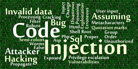 attacker: Code injection word cloud with data background