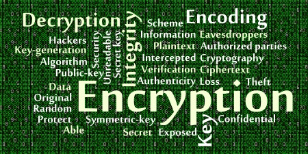 intercept: Encryption word cloud with data background