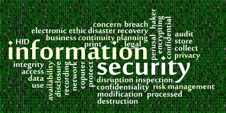 risk management: Information security word cloud with data background