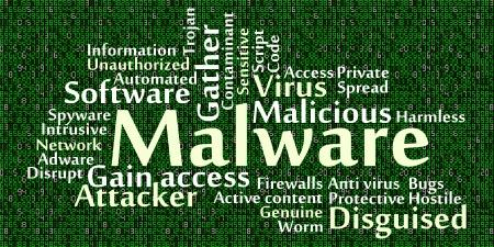 disfrazados: Malware nube de palabras con el fondo de los datos