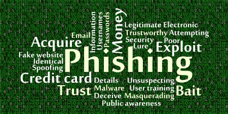 unsuspecting: Phishing word cloud with data background Illustration