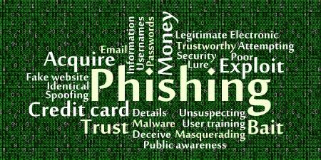 masquerading: Phishing word cloud with data background Illustration