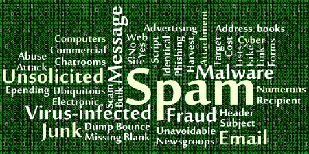 unsolicited: Spam word cloud with data background