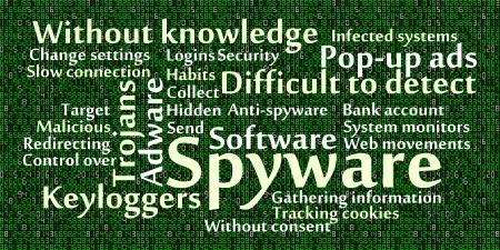 spyware: Spyware nube de palabras con el fondo de los datos