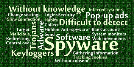 spyware: Spyware word cloud with data background