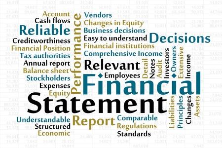 Finanziario word cloud Dichiarazione con foglio dati in background