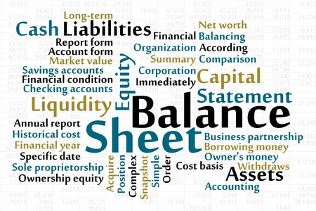 balance sheet word cloud with data sheet background royalty free