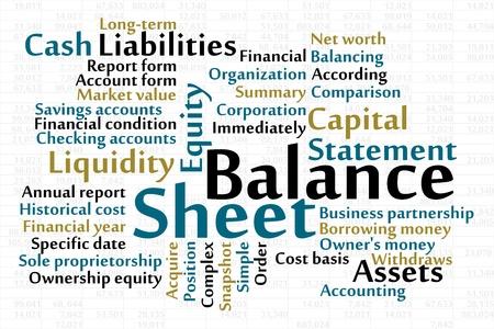 dichiarazione: Balance Sheet word cloud con foglio dati in background