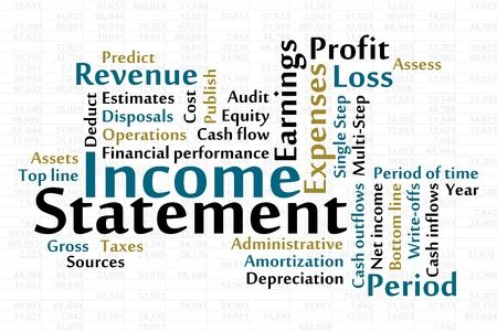 financial year: Income Statement word cloud with data sheet background
