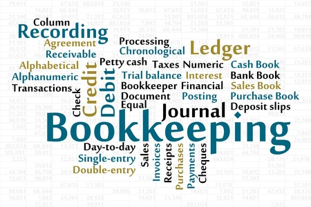 invoices: Bookkeeping word cloud with data sheet background Illustration