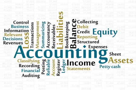 the reporting: Accounting word cloud with data sheet background Illustration