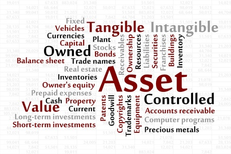 ownership equity: Asset word cloud with data sheet background Illustration