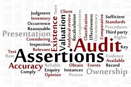 instances: Word cloud Audit asserzioni con foglio di dati in background Vettoriali