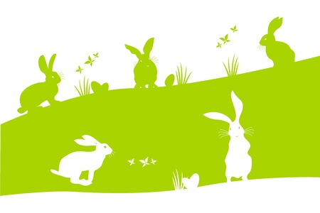 Spring holiday Easter illustration with bunnies searching the Easter eggs Stock Vector - 17372561