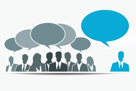 constructive: Different constructive opinion with blue speech bubble Illustration