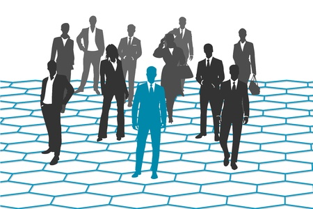 large crowd of people: The business people network  Illustration