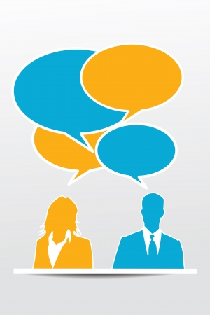 talkative: Conversation business people with speech bubbles
