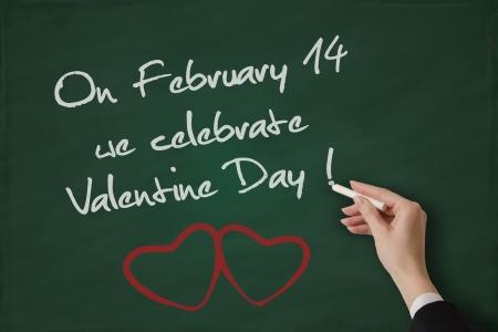 cordial: Valentine Day greeting handwritten on a blackboard Stock Photo