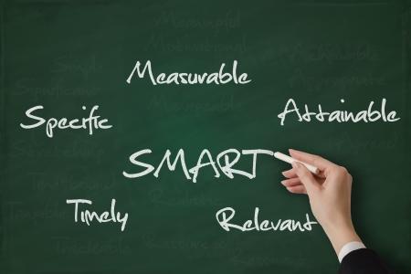 Smart goals hand written on a chalkboard Stock Photo - 17799739