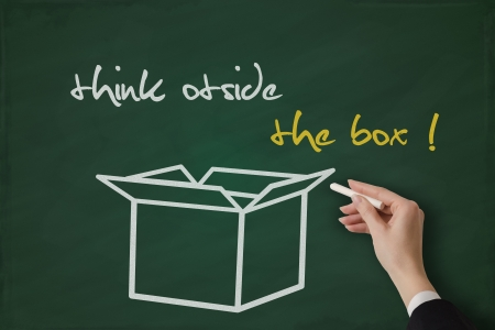 Think outside the box handwritten on a blackboard Stock Photo - 17799745