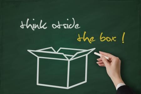 Think outside the box handwritten on a blackboard Stock Photo - 17799745