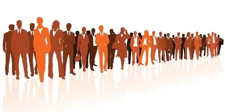 Business team orange silhouettes Stock Vector - 17799749