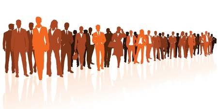 large crowd of people: Business team orange silhouettes Illustration