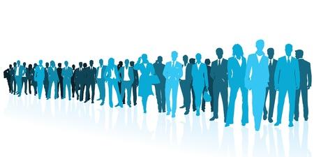 solidaridad: Equipo de negocios siluetas azules