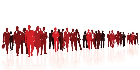 large crowd of people: Business team red silhouettes