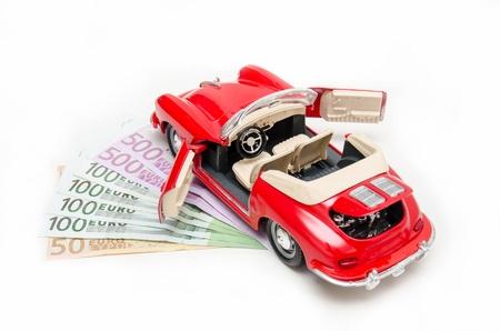 dream car: Ahorrar dinero para el coche de sus sueños Foto de archivo