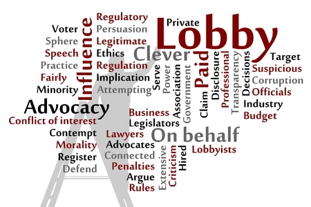 lobbyists: Lobby words cloud illustration