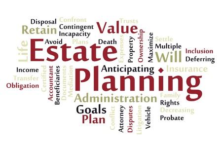 Estate planning woordwolk Vector Illustratie