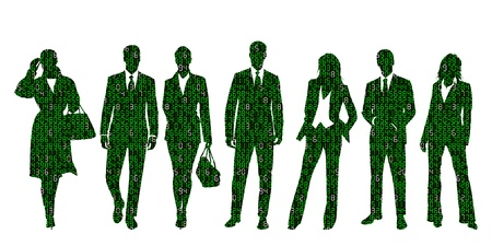 binaries: Concept illustration about business information technology represented by a group of business people silhouettes made out of digits