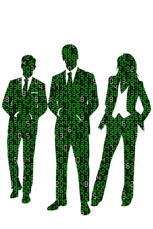 binaries: Concept illustration about information technology business people represented by a group of business people silhouettes made out of digits