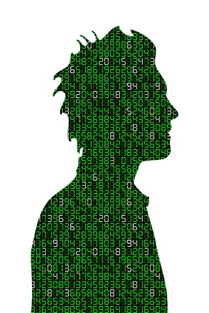 binaries: Concept illustration about Information overloaded represented by a young man profile filled with number digits Illustration