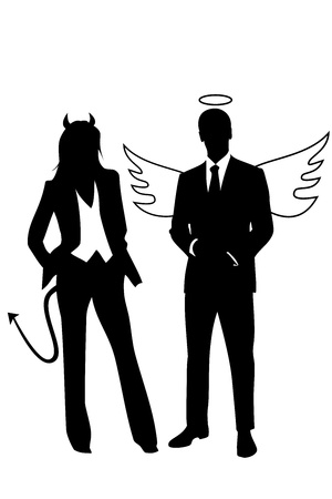 Concept illustration about business ethics represented by a angel businessman and a devil businesswoman Vector