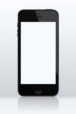 cellphone icon: Realistic touch screen cellphone with reflection illustration Illustration