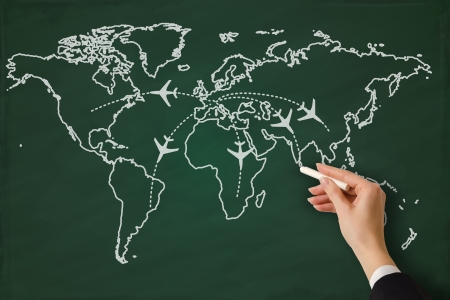 international business agreement: Global business on a chalkboard Stock Photo