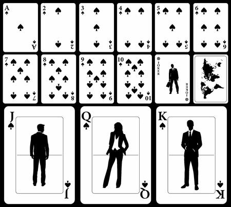 Tarjetas de negocio vector de juego (puedes encontrar los clubs, corazones y diamantes en mi lista) aisladas en fondo negro: traje de espadas con el bromista y negro mapa del mundo como respaldo. Ilustración de vector