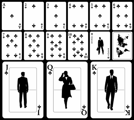 Vector business playing cards (you can find the hearts, diamonds, and spades in my portfolio) isolated on black background: clubs suit with joker and black world map as a back. Vector