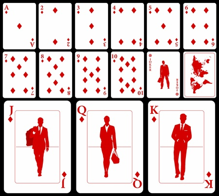 Vector business playing cards (you can find the clubs, hearts, and spades in my portfolio) isolated on black background: diamonds suit with joker and black world map as a back. Stock Vector - 18245777
