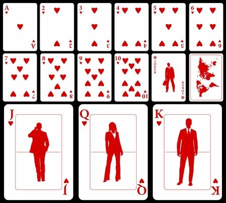 visitekaartje: Vector bedrijf speelkaarten (u kunt de clubs, diamanten en schoppen in mijn portefeuille) geïsoleerd op zwarte achtergrond: harten kostuum met joker en zwarte kaart van de wereld als back.