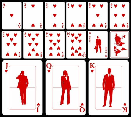 playing with money: Vector business playing cards (you can find the clubs, diamonds, and spades in my portfolio) isolated on black background: hearts suit with joker and black world map as a back.