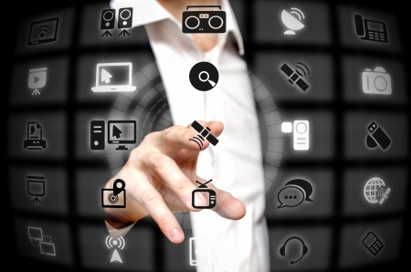 finger tip: Communication services offered at a finger tip Stock Photo