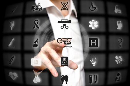 finger tip: Medical services offered at a finger tip Stock Photo