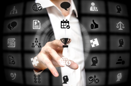 finger tip: Business strategy services offered at a finger tip Stock Photo