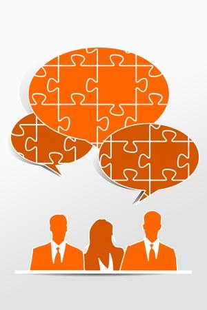 kwis: Quiz tekstballon teamwork concept Stock Illustratie