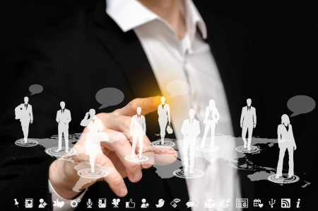 Man touching a social network interface Stock Photo - 18752071