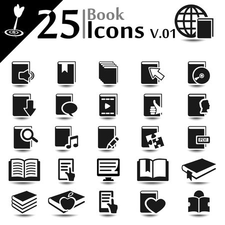 Book icons set, basic series Vector