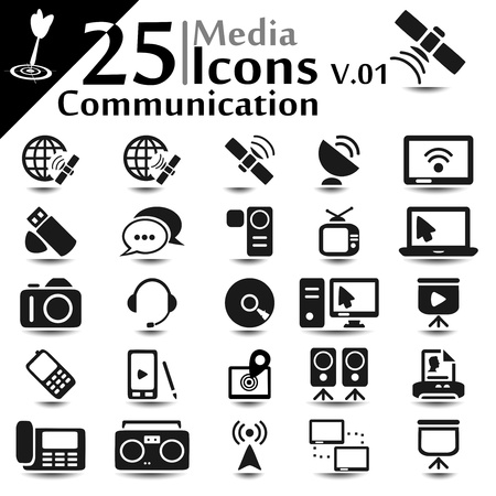 communication tools: Communication icons set, basic series